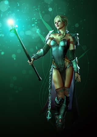 guerrero: una ilustraci�n de una doncella guerrera fantas�a con la varita luminosa