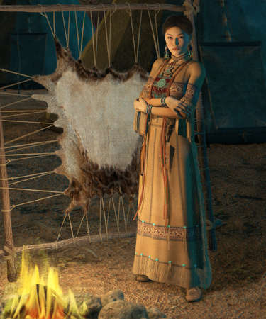 bead embroidery: an american indian woman stands in front of a campfire