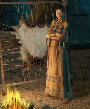 indio americano: una mujer india americana se coloca delante de una fogata