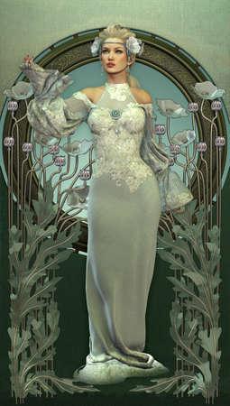 stile liberty: illustrazione di una signora e di papaveri bianchi in stile vittoriano