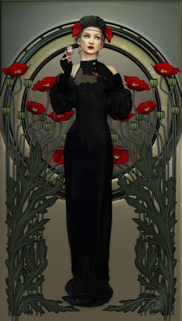 art nouveau frame: illustration of a lady and red poppies in Victorian style
