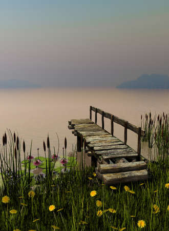 buttercup: an illustration of a wooden landing stage, buttercup meadow, reeds and water lilies Stock Photo