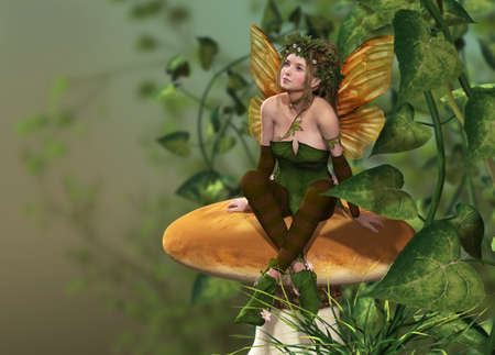 a little fairy is sitting on a mushroom photo