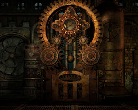 clockwise: a gear train at a factory in Steampunk style