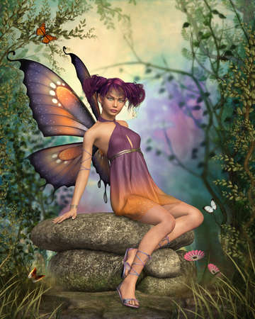 fantasy art: a little fairy sitting on a stone in wonderland