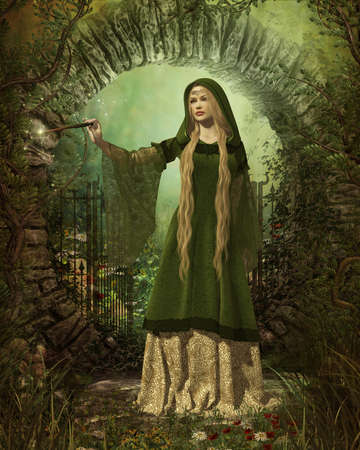medieval woman: a fairy with a magic wand in a medieval garb Stock Photo