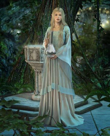 vestido medieval: una princesa élfica con una jarra de plata en sus manos