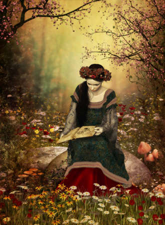 enchanted forest: a lady in a medieval gown sitting on a stone and reading a book