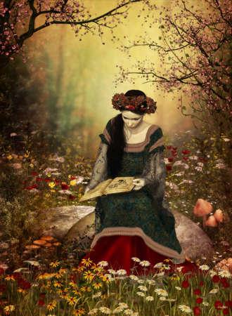 vestido medieval: una dama en un vestido medieval sentado en una piedra y la lectura de un libro
