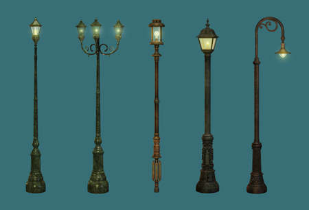 gas lamp: five street lamps in retro style