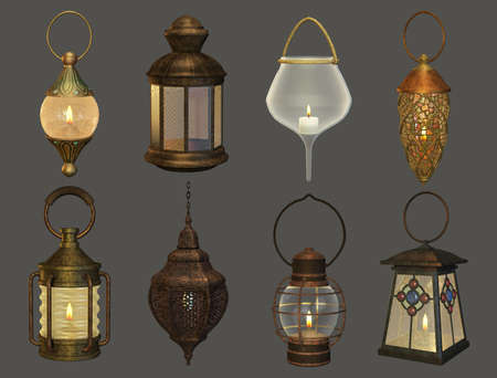 kerosene lamp: eight different lanterns in retro style