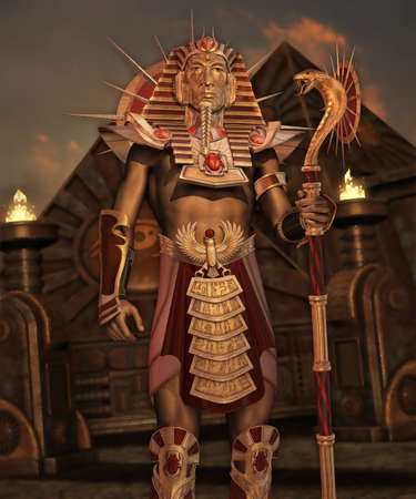 scarab: a man in ancient Egypt clothing standing in front of pyramids Stock Photo