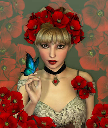 fantasy art: Portrait of a Girl with red Poppies in her Hair