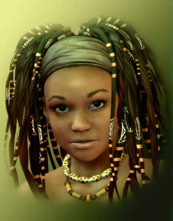 Portrait of a young lady with dreadlocks
