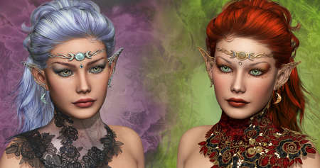 double portrait of two female elven with circlets and ear jewelrys photo
