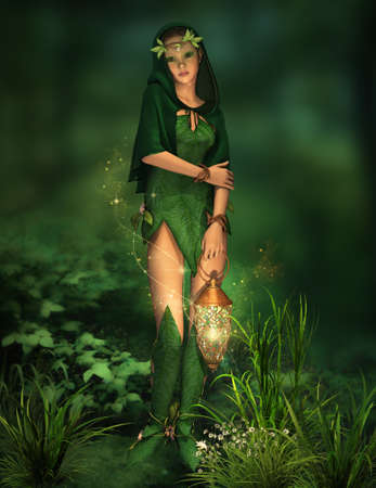 a deep forest fairy with a lantern in her hand Stock Photo