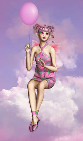 fairyland: a little fairy sitting on a cloud and a balloon in her hand Stock Photo