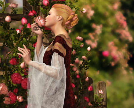 a lady in medieval garb smelling a rose photo