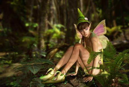 cute fairy: 3d CG graphics jungle scene with charming fairy Stock Photo