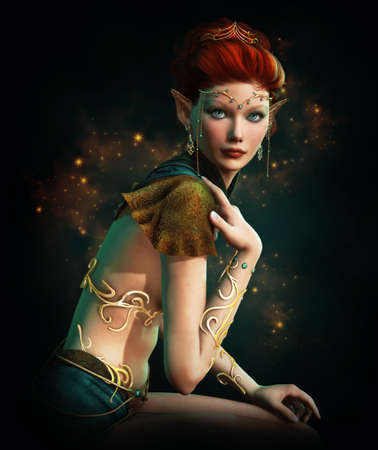 fantasy girl: a elven princess with golden diadem, body jewelry and Turquoise gemstones