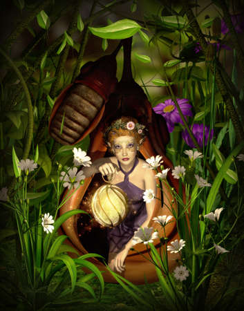 a female elf sitting with a lantern in a cocoon photo