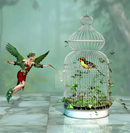 a fairy freed a bird out of the cage 3d Computer Graphics Stock Photo