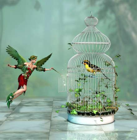 un hada liberó a un pájaro de la jaula 3d Computer Graphics