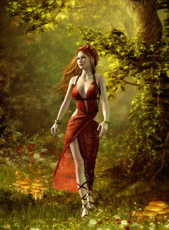 fantasy girl: 3D computer graphics of a lady in a Roman gown, which walks through the forest Stock Photo