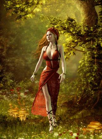fantasia: Gr�ficos por ordenador en 3D de una mujer en un vestido romano, que camina por el bosque