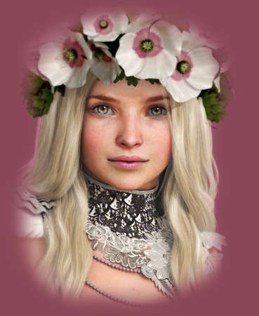neckband: 3d computer graphics of a Girl with white Poppies in her Hair Stock Photo