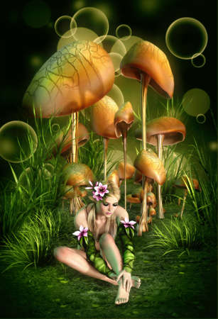 mushroom illustration: 3d computer graphics of a fairy, who
