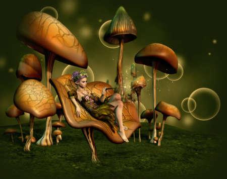 キノコの上に座っている人の妖精の 3 d コンピュータ ・ グラフィックス