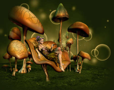 fantasy fairy: 3d computer graphics of a fairy, whos sitting on a mushroom Stock Photo