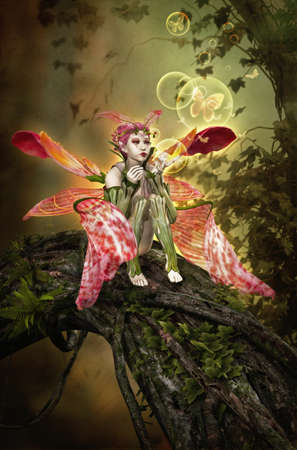 pixie: 3D computer graphics of a fairy sitting on a tree trunk and blows bubbles and butterflies