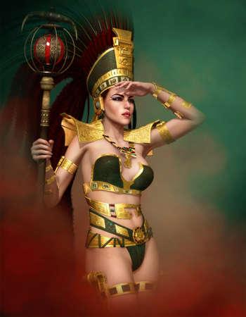 cultura maya: Gr�ficos por ordenador en 3D de una mujer con un vestido antiguo de fantas�a y un tocado de plumas en la cabeza