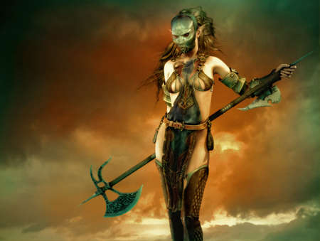 3d  fantasy computer graphics of a woman with a iron mask and a long battle axe
