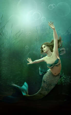 fantasy art: 3D computer graphics of a mermaid