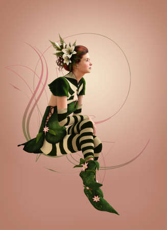 3d computer graphics of a girl with a striped dress and flowers in her hair
