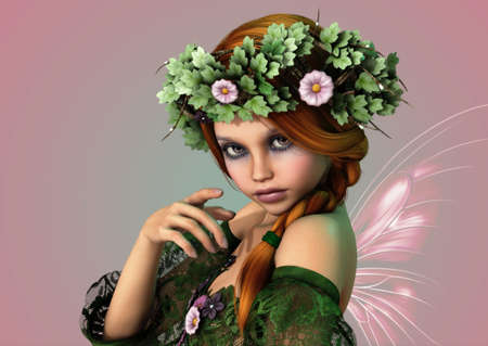 fairyland: 3D computer graphics of a girl with a wreath of flowers in her hair