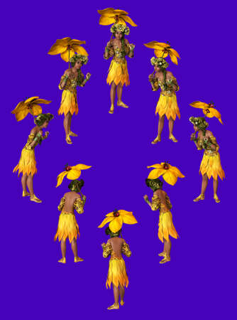 3D computer graphics of a girl with a umbrella from yellow flower petals photo
