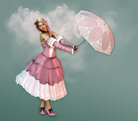 neckband: 3D computer graphics of a girl in a dress in the French romantic style and a parasol