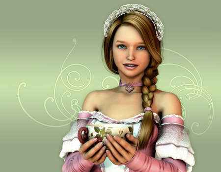 neckband: 3D computer graphics of a girl in a dress in the French romantic style and a cup in her hands Stock Photo