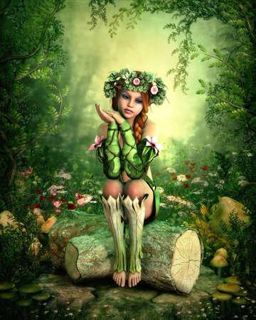 그녀의 머리에 화 환을 가진 소녀의 3D 컴퓨터 그래픽, 나무 그루터기에 앉아