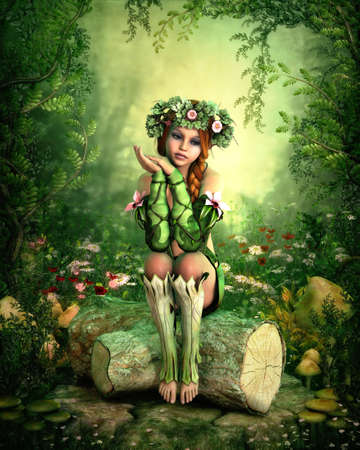 3D computer graphics of a girl with a wreath on her head, sitting on a tree stump
