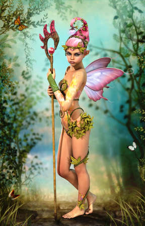 3D computer graphics of a cute fairy with a magic staff and butterfly wings