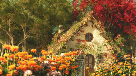 시골집: 정원 별장과 함께 늦은 여름 풍경의 3D 컴퓨터 그래픽 스톡 사진