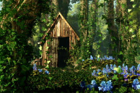 3D computer graphics of a wooden hut in the forest with blue flowers and tree trunks full of ivy photo