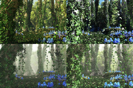 ramble: 3D computer graphics of a forest with blue flowers and tree trunks full of ivy in 4 atmospheres variations