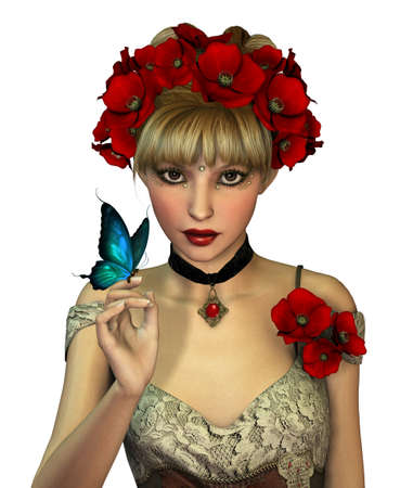 3d Computer Graphics of a Girl with red Poppies in her Hair photo