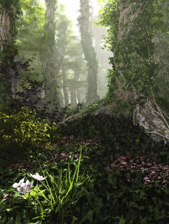 thicket: 3D computer graphics of a forest with tree trunks full of ivy